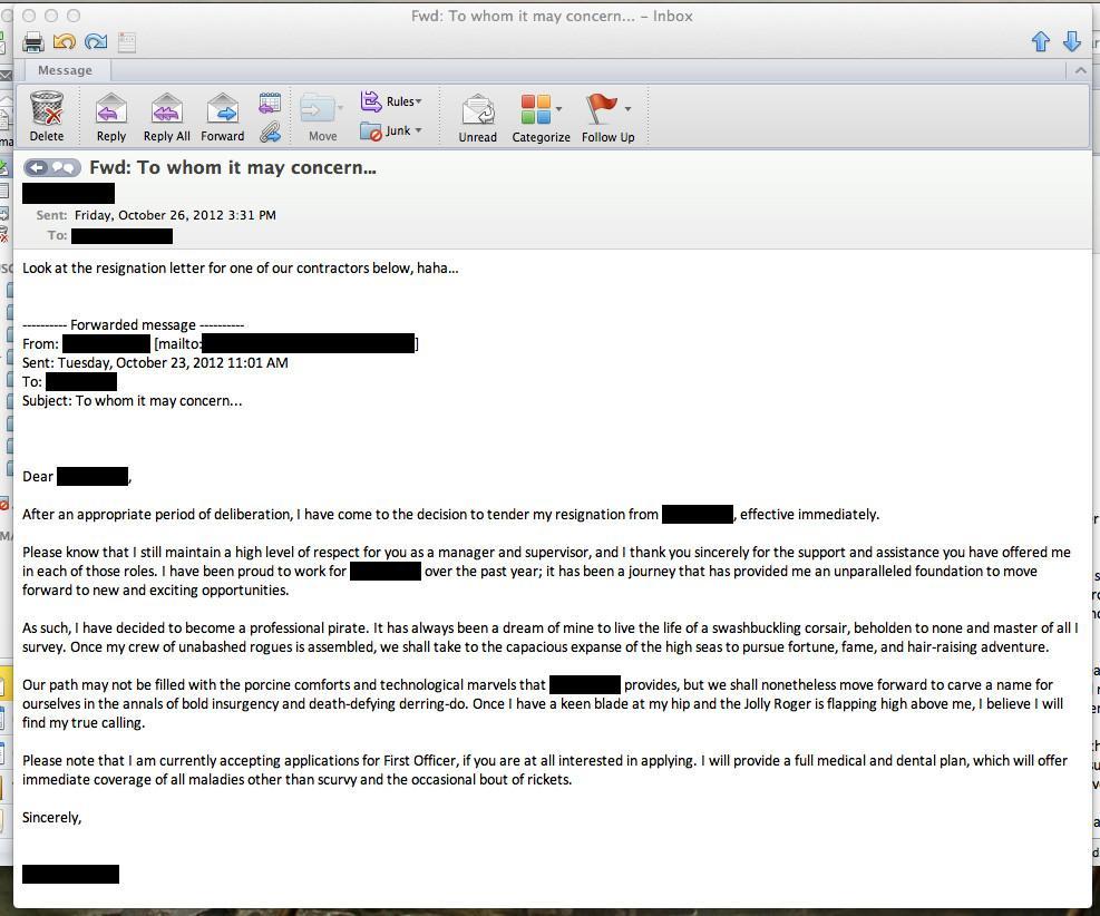 Funny Resignation Letters  Funny Resignation Letters