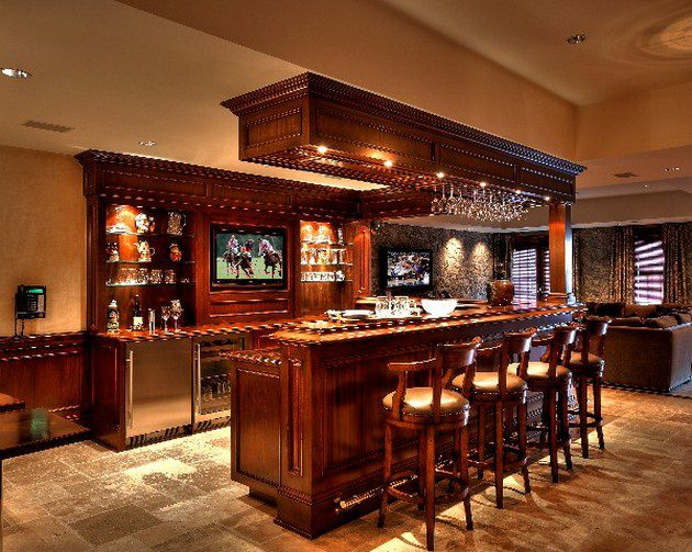 Home Bar on rustic luxury home plans