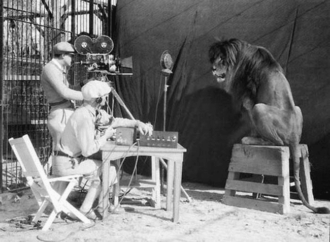3.) 1929 - Filming the MGM Lion.