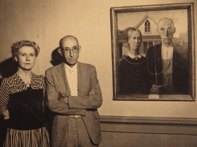 "24.) The models of the ""American Gothic"" painting."