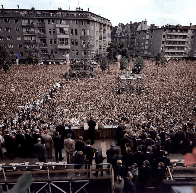 "13.) 1963 - JFK giving his famous ""Ich bin ein berliner"" speech in Berlin, Germany."
