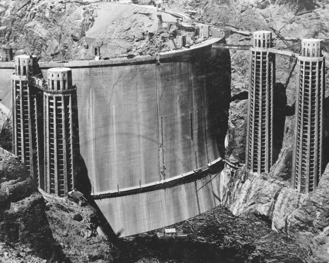 10.) 1936 - The other side of the Hoover Dam before it was flooded.