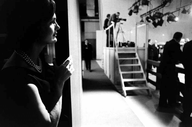 6.) 1960 - Jackie Kennedy watching her husband debate Richard Nixon.