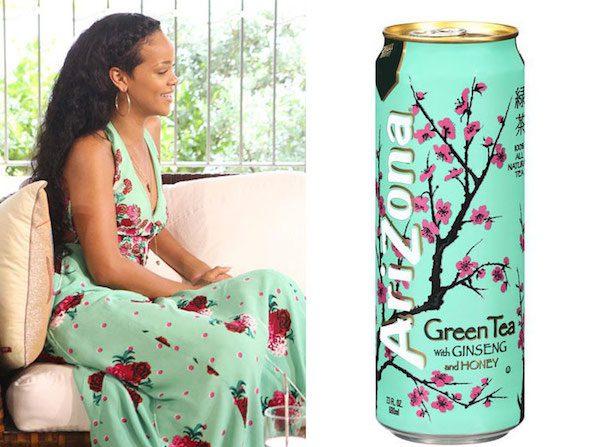 Rihanna and a can of Green Tea Arizona