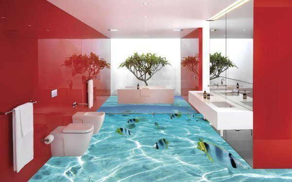 15 incredible 3d floor designs that will give you serious for Bathroom floor designs 3d