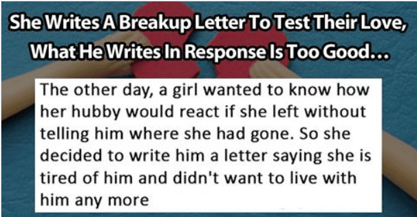 she writes her husband a breakup letter to test their love this is how he responds