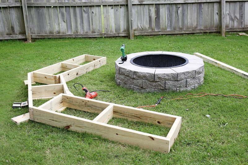 To begin, Joshua framed out the bench exactly as it would stand next to the fire  pit. - The Easy Fire Pit Project Will Take Your Backyard To Another Level