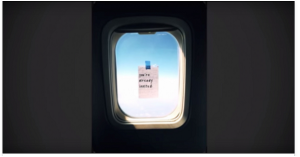leaving notes on airplane windows