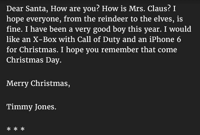 This kid sends an angry letter to santa and gets this reply newslinq story 7a spiritdancerdesigns Images