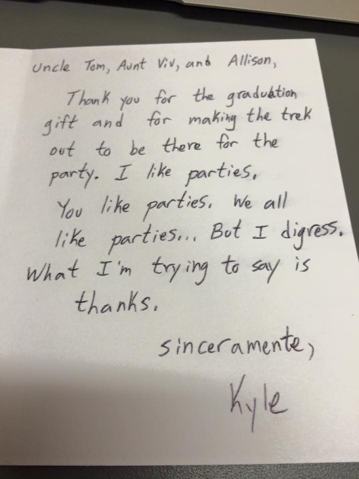 this kid's thank you letters are so spot on he should