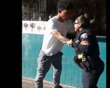 female cop arrests guy