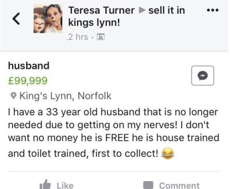 wife lists husband for sale