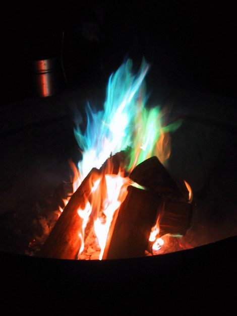 Make treated pine cones for colored fire in your fire pit.