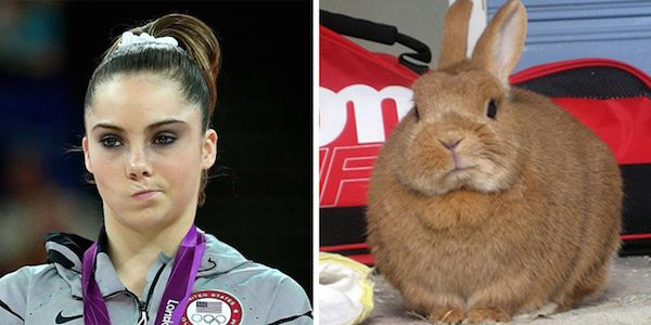 Olympian McKayla Maroney and this unimpressed bunny