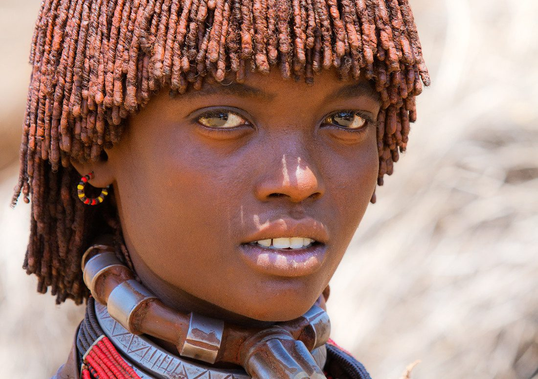 Ethiopian girl from the Hamer tribe.