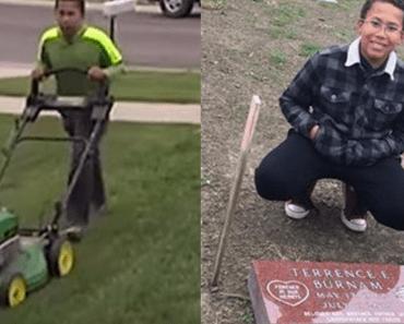boy mows lawns for gravestone